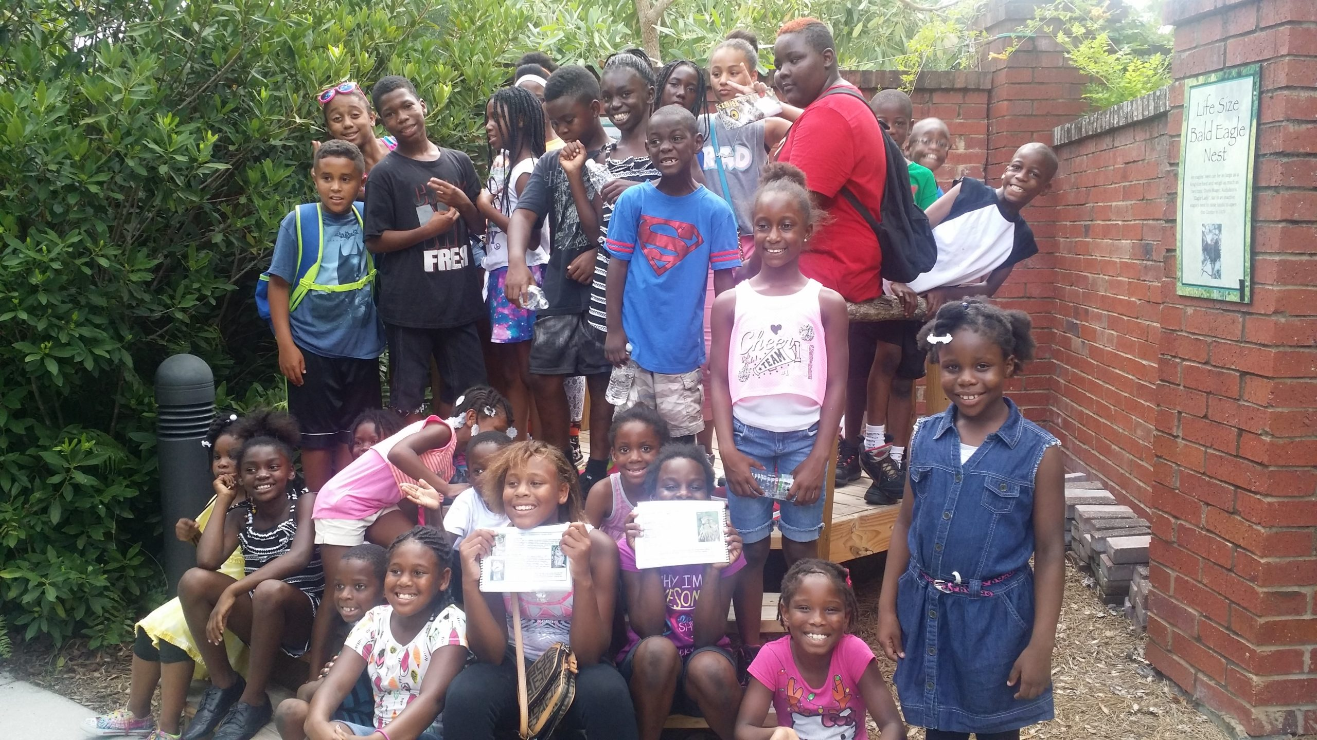P.E.C. Summer STEM Camp. Students at the Audubon Center for Birds of Prey.