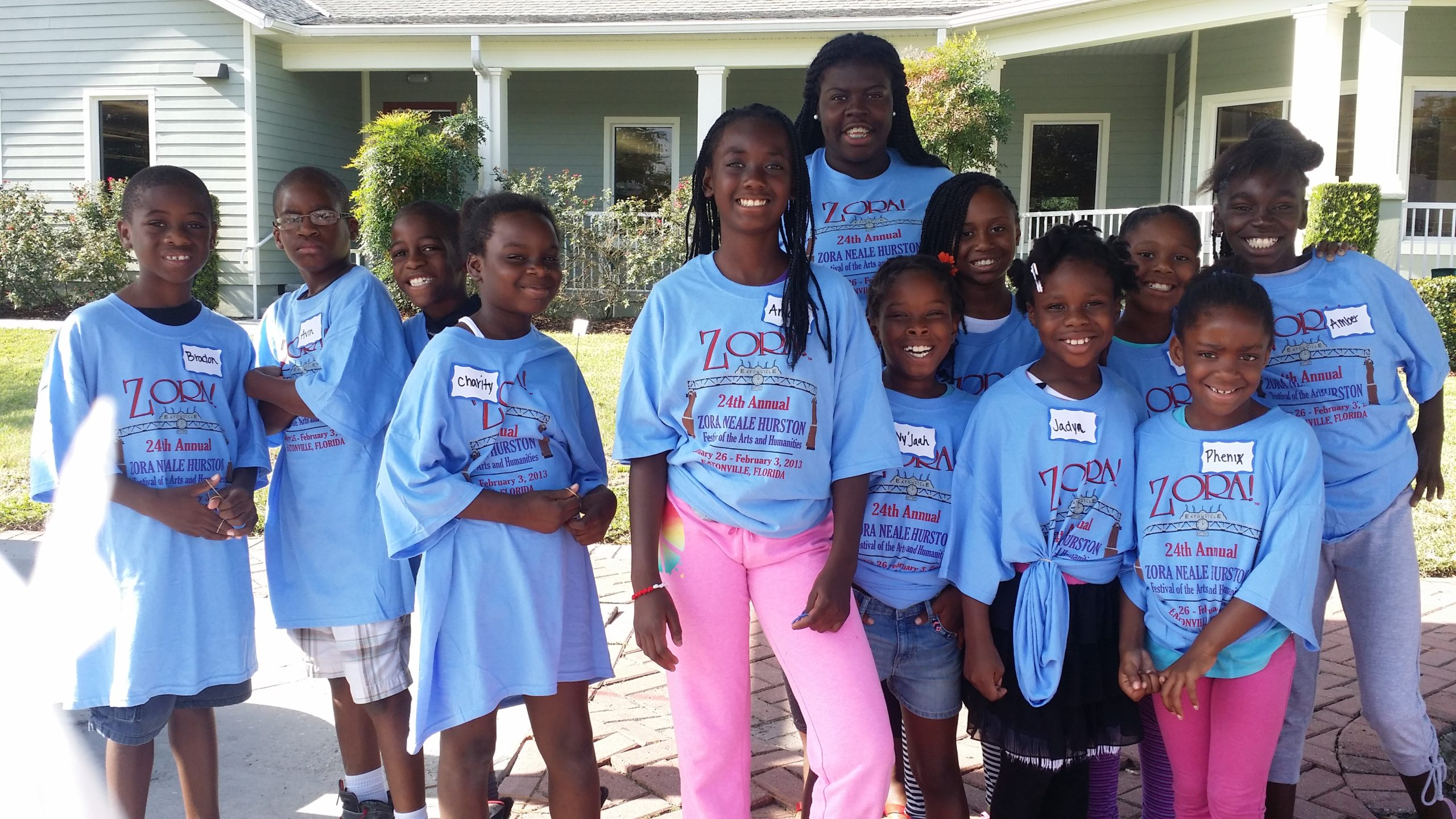 P.E.C. Summer STEM Camp. Students in front of Eatonville Public Library Branch.