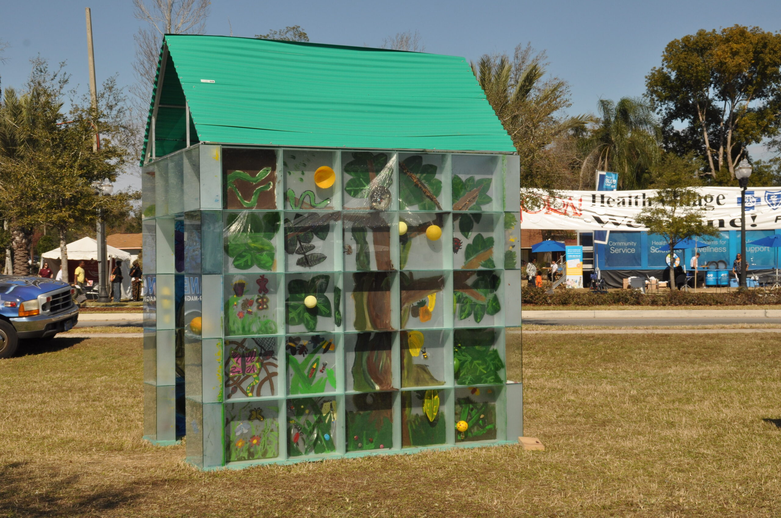 ZORA! Festival 2020 -- The Glass House Project, completed by Eatonville students under the direction of artist,Therman Statom