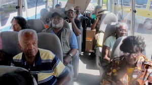 Group shot on bus to Jamaica